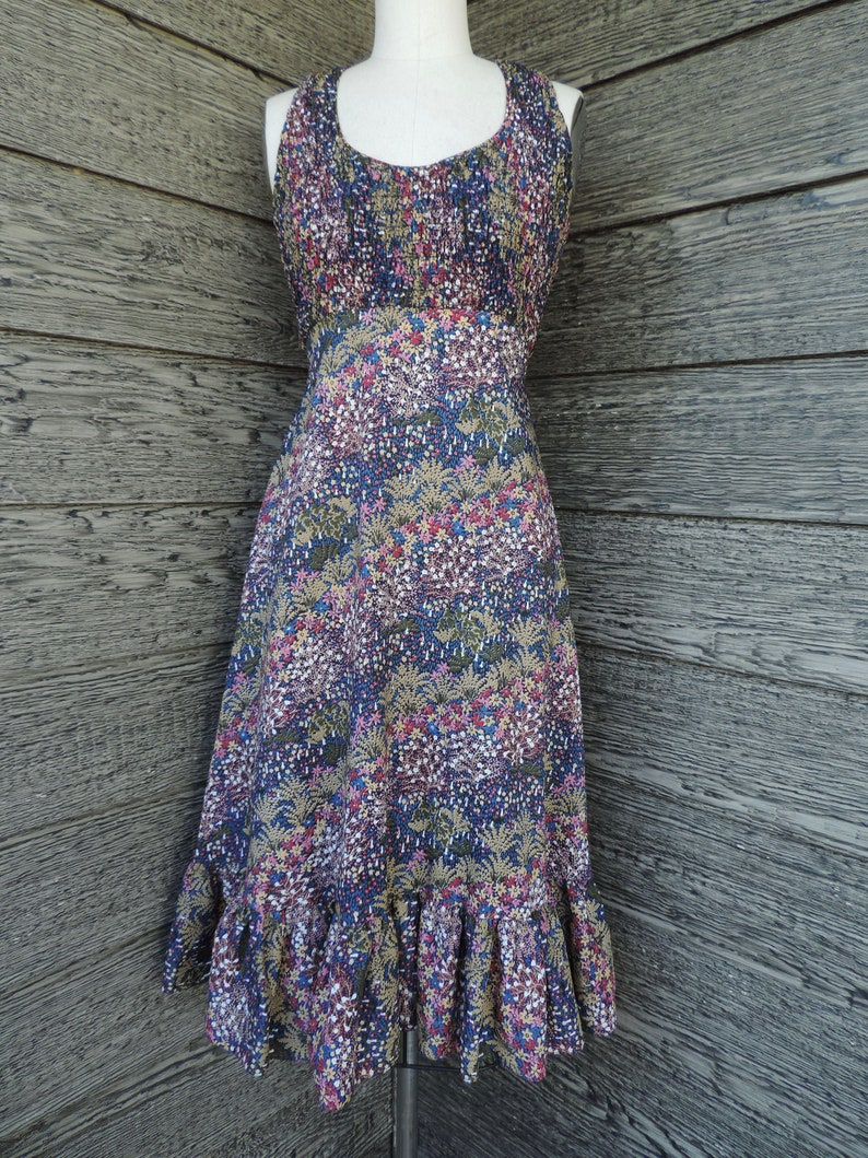vintage prairie dress earthy floral boho summer frock small