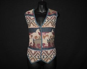 horse blanket vest 1990s southwestern tapestry earthy vest medium