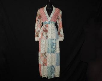 patchwork prairie maxi dress 1970s hippie boho lace long gown large