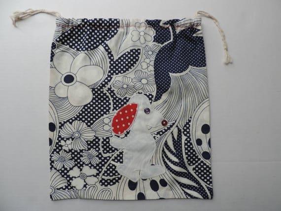 sac à chaussures marine floral brodé tout pochette sac snoopy psychédélique des années 1960