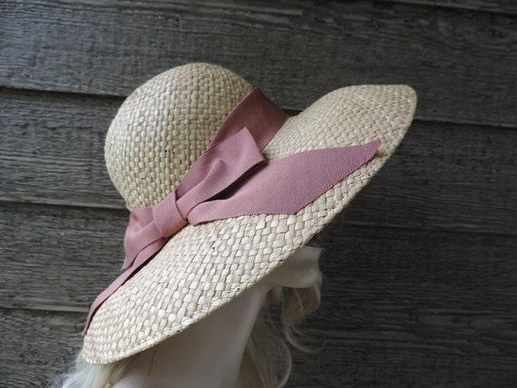 Laura Ashley straw hat vintage natural wide brim s