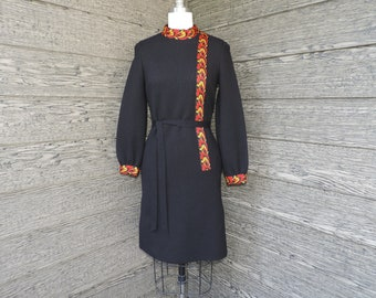 vintage folklore dress 1960s mod black and red knit frock small