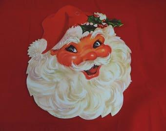 Santa Claus paper die cut vintage window decoration 60s Christmas decor wall hanging