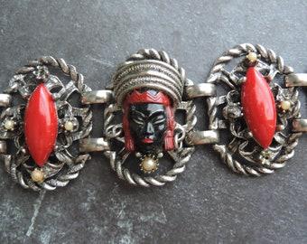 Selro Selini asian princess bracelet vintage blackamoor red panel cuff