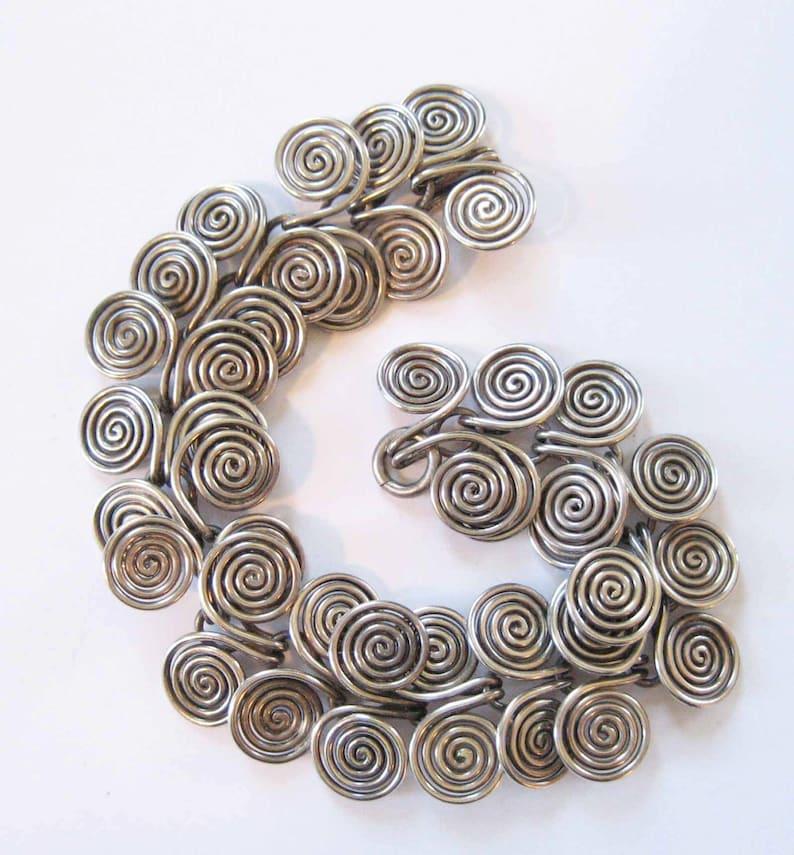 Sterling Silver Double Spiral Bracelet Bronze Age Celtic Design