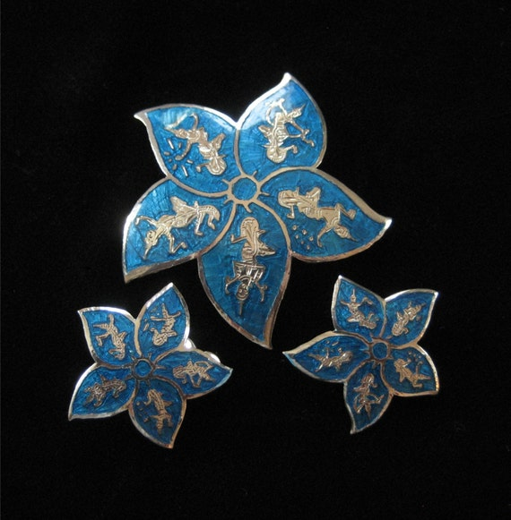 Blue Enamel Siam Sterling Star Brooch and Earring