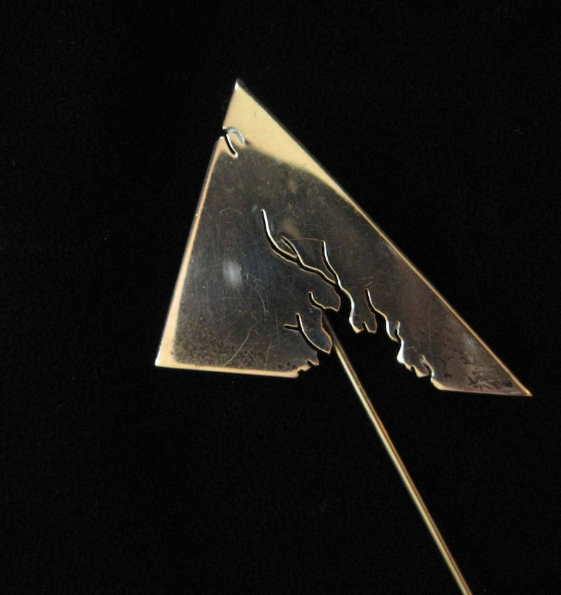 Abstract Modern Sterling Silver Stick Pin signed Yves