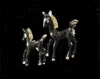 Pair of Black Enamel Horse Scatter Pins
