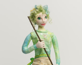 """Spring Woods is a 20""""tall stump doll pattern."""