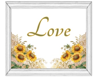 Sunflowers Love Green and Yellow  Printable Wall Art Digital Download