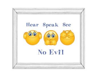 Hear Speak See No EVIL Emoji Printable  Art Digital Download Cute Fun Wall Art