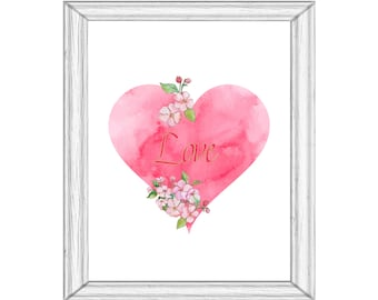 Cherry Blossom Heart Love Printable Art  Digital Download Just for Fun Pink Green