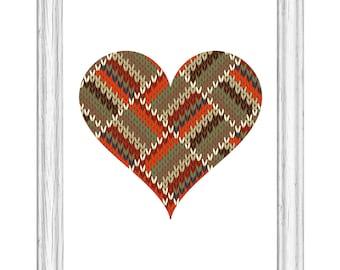 Autumn Knit Heart Print Wall Art Digital Download Orange Sage Rust Knitted Look Printable