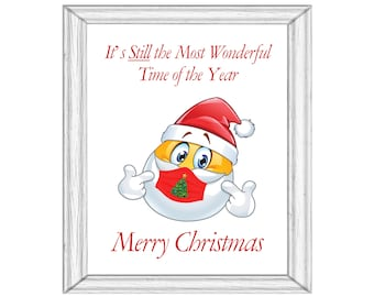 2 Santa Merry Christmas Printable With Mask and Without Mask Art Digital Download Covid Happy Optimistic Pandemic