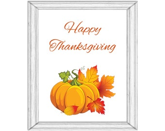 Happy Thanksgiving Pumpkins Autumn Printable Wall Art Digital Download