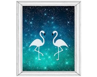 White Flamingo Pair Glitter Printable Art Dark Blue Aqua  Digital Download Super Starry Night Just for Fun