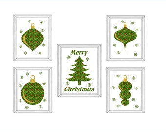 Christmas Special 5 Christmas Prints for 9.99 Christmas Tree and 4 Ornaments Print Wall Art Digital Download  Printable Unique Fun Printable