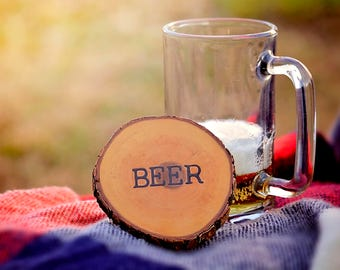 Rustic Wood Burned Coaster- Beer