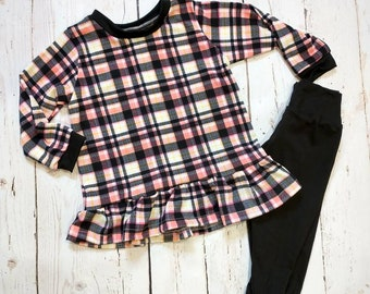 Black-White-Pink Plaid Shirt -Black Pants