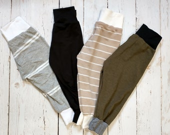 Kids Joggers - Cuffed Pants - Gray and White Striped- Black- Cream Striped