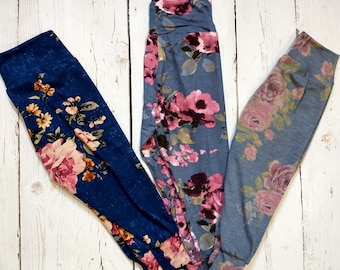 Kids Joggers - Cuffed Pants - Blue Florals