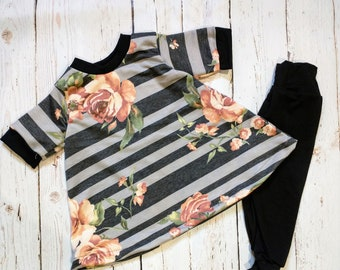Gray-Black Striped Floral A-Line Tshirt Dress