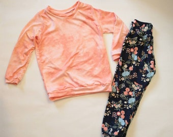Girls Relaxed Joggers and Shirt- Tie Dye, Boho Floral