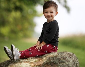 Boys Relaxed Joggers and Shirt- Maroon Boston Terrier