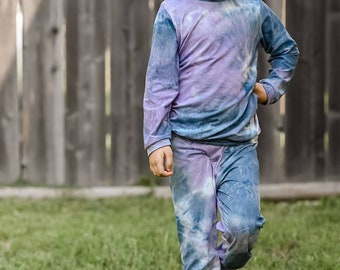 Girls Relaxed Joggers and Shirt- Blue Purple Tie Dye- Kickin in Comfort