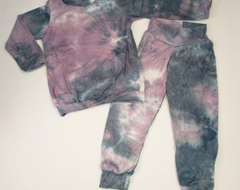 Girls Relaxed Joggers and Shirt- Blue Purple Tie Dye
