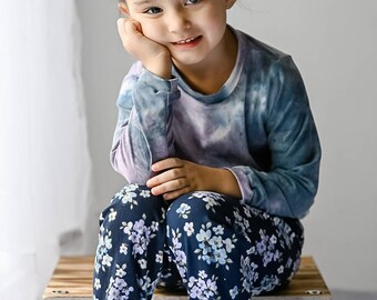 Girls Relaxed Joggers and Shirt- Blue Purple Tie Dye, Violet Floral- Kickin in Comfort
