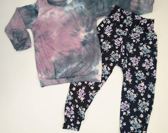 Girls Relaxed Joggers and Shirt- Violet Blue