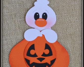 Ghost and Pumpkin Halloween premade scrapbooking embellishment Paper Piecing set Die cut Clip Art.