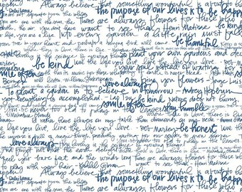 """LAMINATED COTTON Fabric by the yard """"Exclusive"""" Riley Blake Garden Text White"""