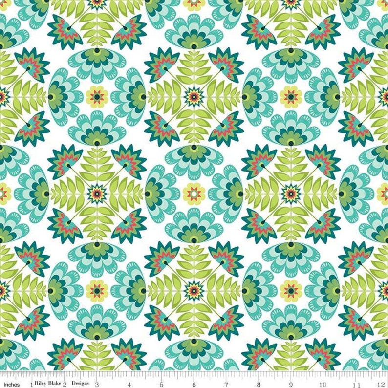 Riley Blake Designs, Lucy/'s Garden Tile Teal 100/% Cotton Fabric