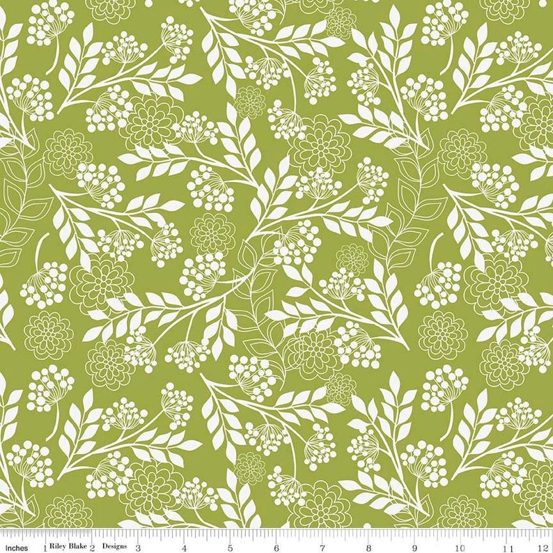 LAMINATED COTTON  Exclusive Riley Blake Fantine Floral Green Fabric by the yard