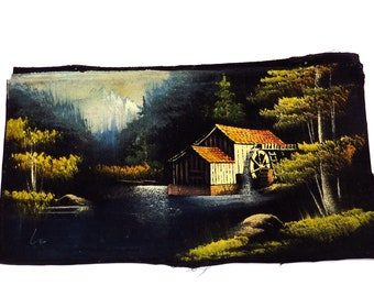 Vintage Old Mill Landscape Waterfall Oil Painting on Black Velvet 1970s Kitschy Artwork