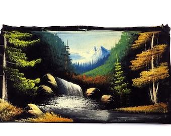 Vintage Waterfall Landscape Waterfall Oil Painting on Black Velvet 1970s Kitschy Artwork