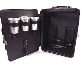 Vintage Travel Bar 1980s Retro Portable Alcohol Case Picnic Suitcase