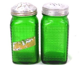 Pair Vintage Owen Illinois Green Glass Shakers 1940s Salt and Pepper Glass Range Shaker
