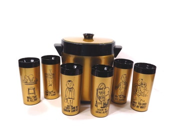 Mid Century West Bend Thermo Serv Ice Bucket with Matching Cartoon Highball Drinking Glasses