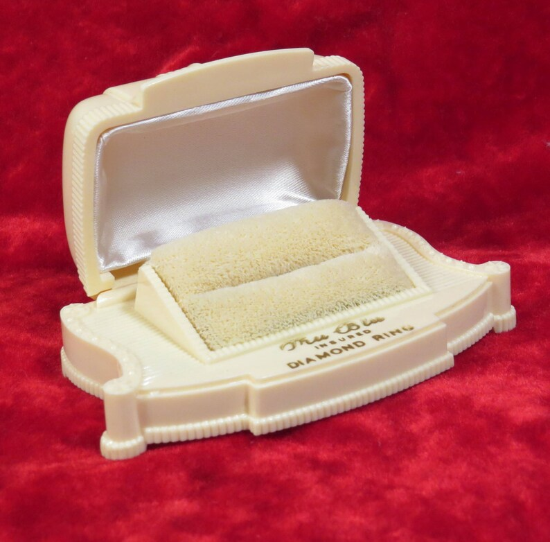 1930s Celluloid Double Ring Box Tru Blu Diamond Ring Box Vintage Art Deco Double Ring Box Engagement Jewelry Box