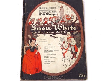 Vintage 1938 Snow White and the Seven Dwarfs Illustrated Souvenir Song and Music Book