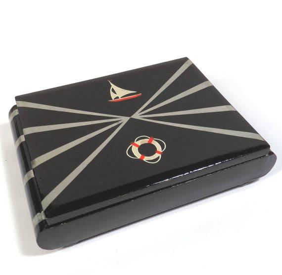 Art déco voilier carte à jouer boîte Vintage des années 1930 noir peint en bois Double Deck carte récipient noir