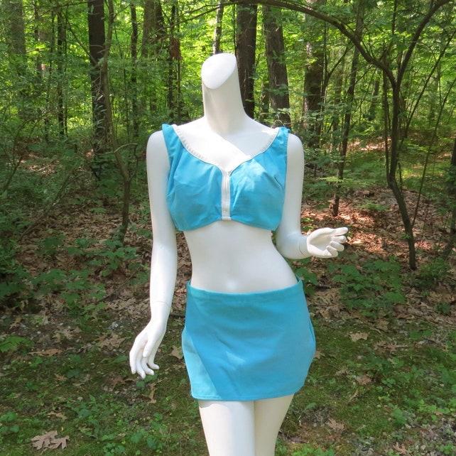 86343bb954f Vintage Lane Bryant Two Piece Swim Suit 1960s 1970s Turquoise