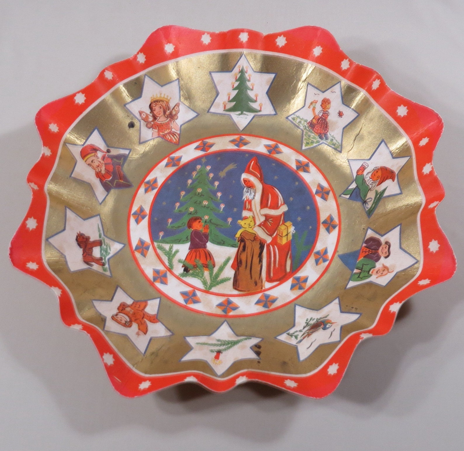 Vintage Christmas Thick Pressed Cardboard Candy Bowl // Made In Germany // Santa with Toys