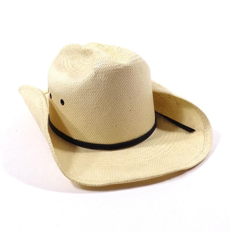 b876fb93bbd10 Vintage Eddy Bros California Creme Colored Straw Cowboy Hat