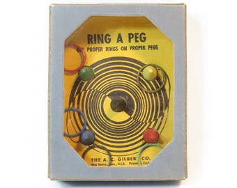 Gilbert Ring A Peg Trick Dexterity Puzzle Vintage 1930s Hand Held Ring Toss Game