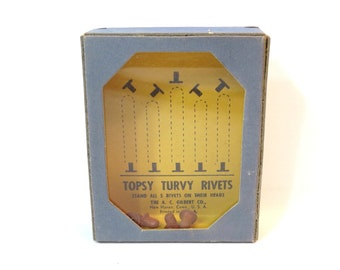 Gilbert Topsy Turvy Rivets Trick Dexterity Puzzle Vintage 1930s Hand Held Game