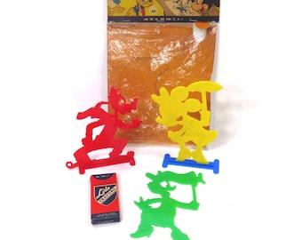 Vintage Walt Disney Tracing Set Plastic Goofy - Daisy Duck - Minnie Mouse Lido Toy Company